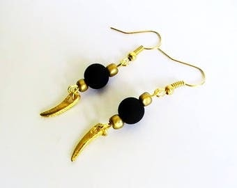 Earrings black and gold satin