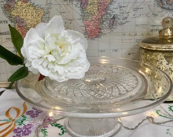 Vintage Pressed Glass Cakestand, Clear