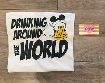 Drinking Around The World Mickey Beer Mens Food and Wine Shirt