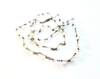 """Antique/Vintage Silver with Hand Carved Rock Crystal Beads Hand Wired 32"""" Necklace"""