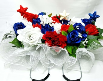 Gravestone Floral Saddle, Spring Saddle, Memorial Day Saddle, Tombstone Saddle, Mailbox Saddle, Fourth of July Saddle