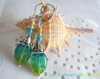 Earrings with crackled glass beads