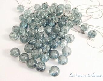 50 Crackle 8 mm blue sea glass beads