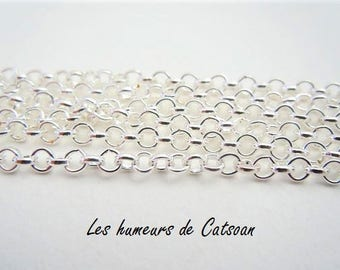 1 m chain jaseron stitch 3mm metal silver Foundation / chain silver plated / silver plating