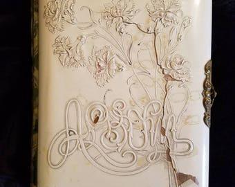 Antique Music Box Photo Album, Including  Many Cabinet Cards, Family Album, Names Written Inside