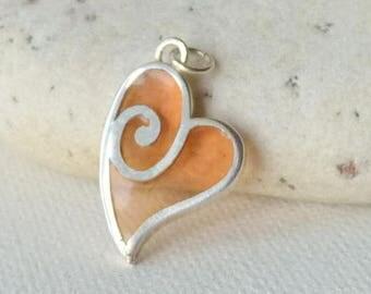 Sterling Silver Glass Heart Pendant Jezlaine Signed Heart Modern Silver Heart Jewelry 925 Silver Heart Vintage Jewelry, Silver Heart Jewelry