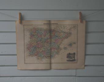 1887 Vintage Map of Spain & Portugal