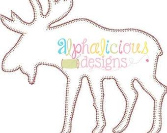 Moose Embroidery Design - Woodland Design - Forest Design - Embroidery Design - Applique Design - Blanket Stitch Design