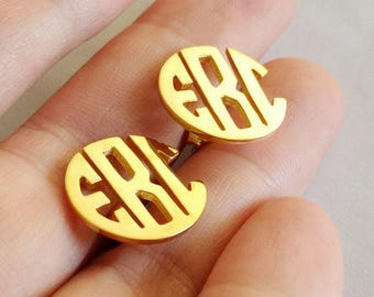 Monogram Earrings Circle Three Letters ,Gold Monogram Stud Earrings,Personalized Monogram Earrings,Initial Stud Earrings,Monogrammed Gifts