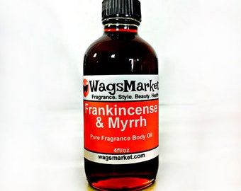 Frankincense and Myrrh, 4oz Glass Bottle, Pure Fragrance Body Oil ***FREE SHIPPING IN U.S.***
