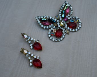 Vintage  BIJOUX M.G. Butterfly Brooch and Earrings Set,  Signed and Marked, Made in Czeckoslovakia