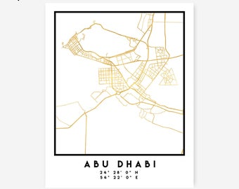 Abu Dhabi Map Coordinates Print - United Arab Emirates City Street Map Art, Gold Abu Dhabi Map, Arabic Abu Dhabi Coordinates Poster Map