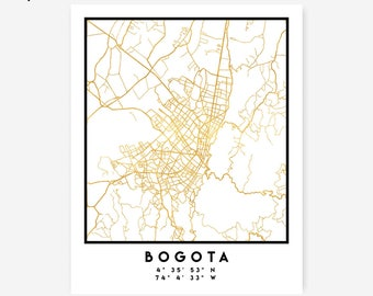 Bogota Map Coordinates Print - Colombia City Street Map Art Poster, Gold Bogota Map Print, Bogota Colombia Coordinates Colombian Poster Map