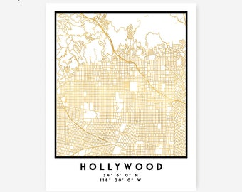 Hollywood Map Coordinates Print - California City Street Map Art Poster, Gold Hollywood Map Print, Hollywood USA Coordinates Poster Map Art