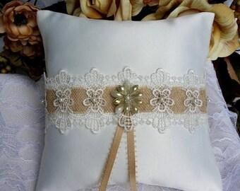 SALE Ring Pillow - Ring Bearer Pillow - Satin Ring Pillow - Satin Ring Bearer Pillow - Vintage Wedding - Satin Wedding Pillow - Lace Ring Pi