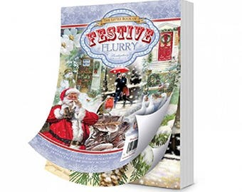 Hunkydory Little Book of FESTIVE FLURRY 144 A6 Paper Topper Sheets 150gsm Christmas Card Making Decoupage Papercraft