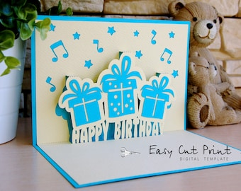 Happy birthday 3D gift pop up Card Laser cut (SVG, DXF, CDR) Vector Silhouette Cameo Cricut Digital Instant Download