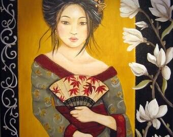 Geisha Japanese woman portrait, magnolias, magnolia