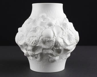 White op art bisque porcelain vase seashell by Kaiser, west Germany, Mid Century, 60s