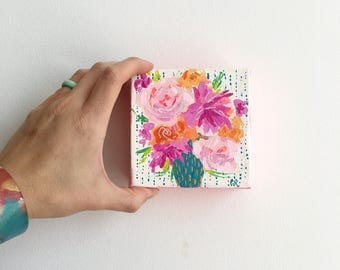 Small Pink Floral Painting, Flower Painting, Original Art, Acrylic Painting, Gallery Wall