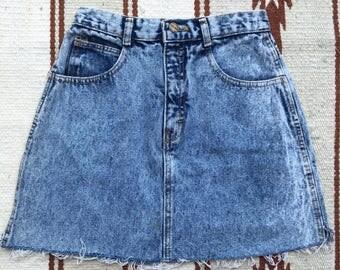 Acid Wash Distressed Vintage Retro Denim Mini Skirt Palmetto's