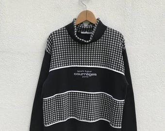 """20% OFF Vintage Courreges Paris Sport Futur Pullover / Courreges Sweater / Courreges Sweatshirt / Paris Clothing / Armpit 20"""""""