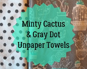 Minty Cactus and Gray Dot Unpaper Towels