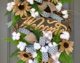 Farmhouse Style Wreath, Cotton Boll Wreath, Natural Birch Wreath, Welcome Wreath, Burlap Sunflower Wreath, Everyday Wreath, Rustic Wreath
