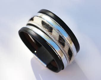 "Leather Cuff Bracelet ""Zebra"" black, white and silver"