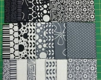 Shades of Black by Moda/Me&MySister.  26 -Fat Quarters.  Rare find.