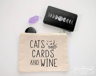 Cats Cards And Wine Canvas Zipper Bag | Tarot Gift | Wine Lover Gift | Crystal Pouch | Witch Gift | Crystal Lover Gift | Cat Lover Gift