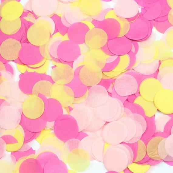 Mai Tai Confetti, Pink Yellow Confetti, Shred, Table Decor, Confetti Balloon, Bachelorette, Beach Baby Shower Decor Tropical Decor Island