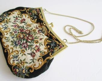 Vintage Tapestry Evening Purse/Made In Hong Kong Evening Bag/ Du Val Bag