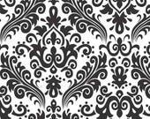 RILEY BLAKE Large Damask Black on White 100% cotton fabric by the Yard - C840-110