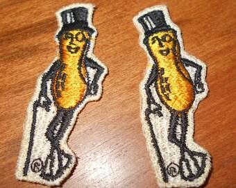 2 Vintage Mr. Peanut Embroidered Patches - Emblems