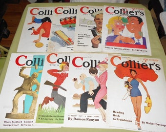 1930s  Magazine Covers from COLLIER'S Magazine ~ 8 Covers