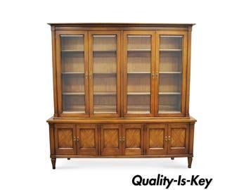 Vtg Mid Century Modern White Furniture Co Walnut Credenza China Cabinet Bookcase
