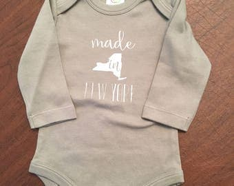 Made in New York Baby Onesie - Made in NY Baby - Organic Cotton Baby Clothes Screen Printed Onesie 12-18mo