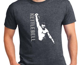 Quality Men's Dark Heather Grey Kettlebell Lifter T-Shirt.
