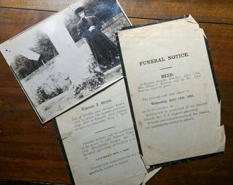 Lot of 3 mourning pieces 2 funeral notices and 1 graveyard photo