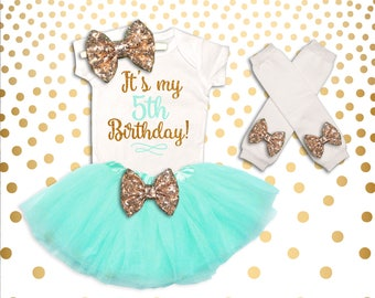 5th Birthday Outfit Girl Mint and Gold 5th Birthday Tutu Set Birthday Girl Outfit 5th Birthday Outfit Birthday Tutu Set