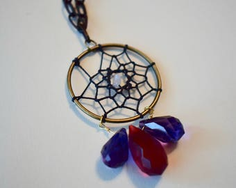 Dreamcatcher Necklace with Faceted Glass Crystals
