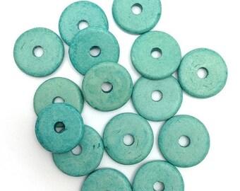 SALE 10% OFF 15 ceramic discs round turquoise, 13 mm, 15 pieces, ceramic beads, greek beads, ceramic beads, mykonos, discs
