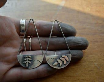 Flourish Earrings No.1 - Botanical - Sterling Silver - Dangle Earrings - Leaf