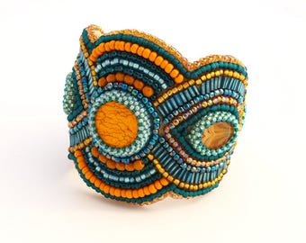 Bead Embroidery Cuff Bracelet  Orange and turquoise bracelet whith stone and glass bead holiday Jewelry