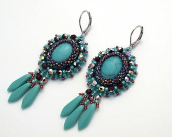 Blue elegant bead embroidery earrings, tasteful seed bead earrings,  beautiful beadwork earrings, Christmas gift for her, Handmade jewelry
