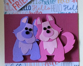 Pink and lilac puppy card