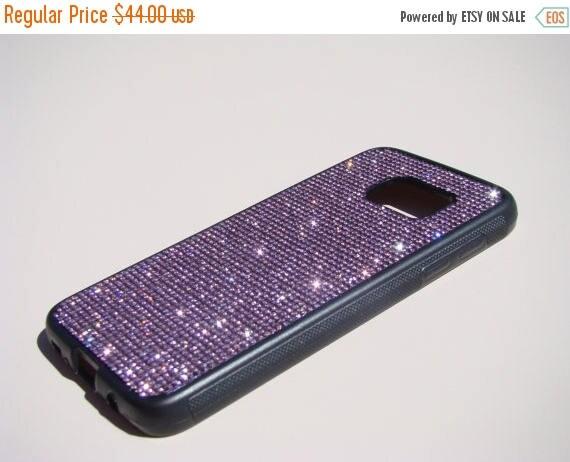 Sale Galaxy S7 Purple Amethyst Diamond Rhinestone Crystals Black Rubber Case. Velvet/Silk Pouch Bag Included, Genuine Rangsee Crystal Ca