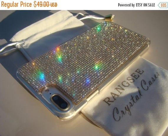 """Sale iPhone 7 Plus Case Clear Diamond Crystals iPhone 7 Plus Transparent Clear Case. """"Gold Edition"""" for Jet Black, Genuine Rangsee Crystal C"""