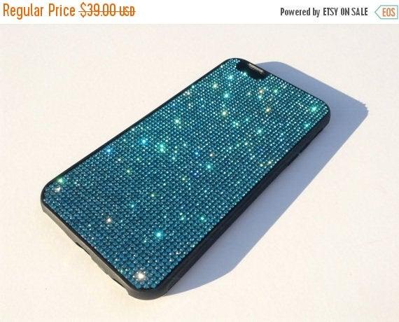 Sale iPhone 6 Plus / iPhone 6s Plus  Aquamarine Blue Crystal Black Rubber case iPhone 6 Plus Bling Cover Velvet/Silk Pouch Bag Included